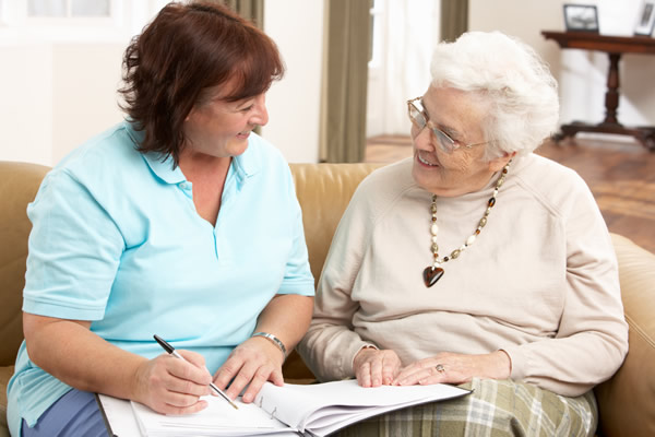 Working with an older person in their home